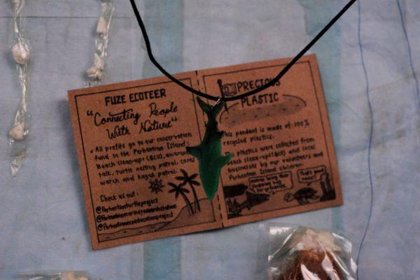 Green Precious plastic shark pendant