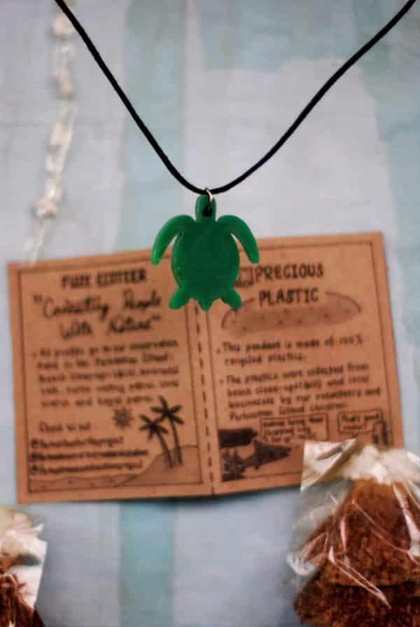 Precious plastic turtle necklace