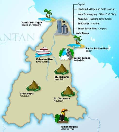 Kelantan tourism map