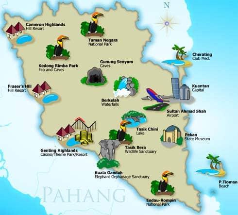 Pahang tourism map