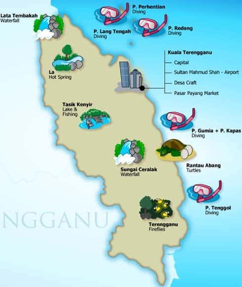 Terengganu Tourism map